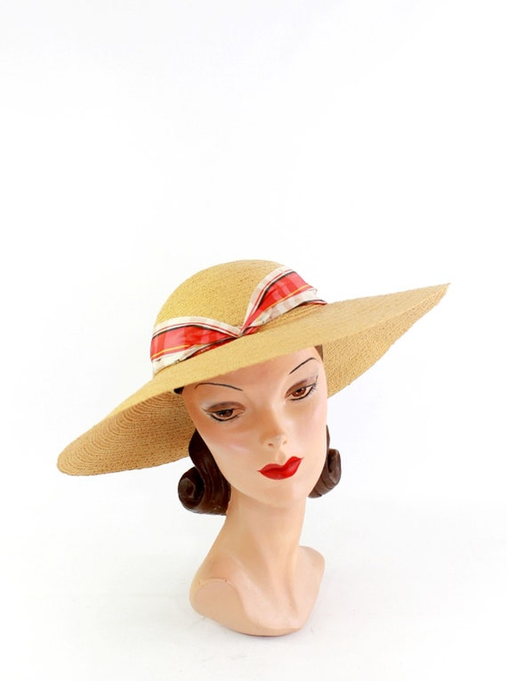 1940s Natural Straw - 1940s Cartwheel Sun Hat - 1… - image 1