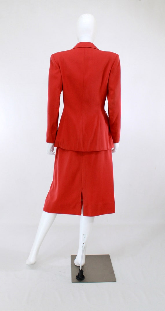 1940s True Red Wool Gab Suit - 1940s Red Suit - 1… - image 4