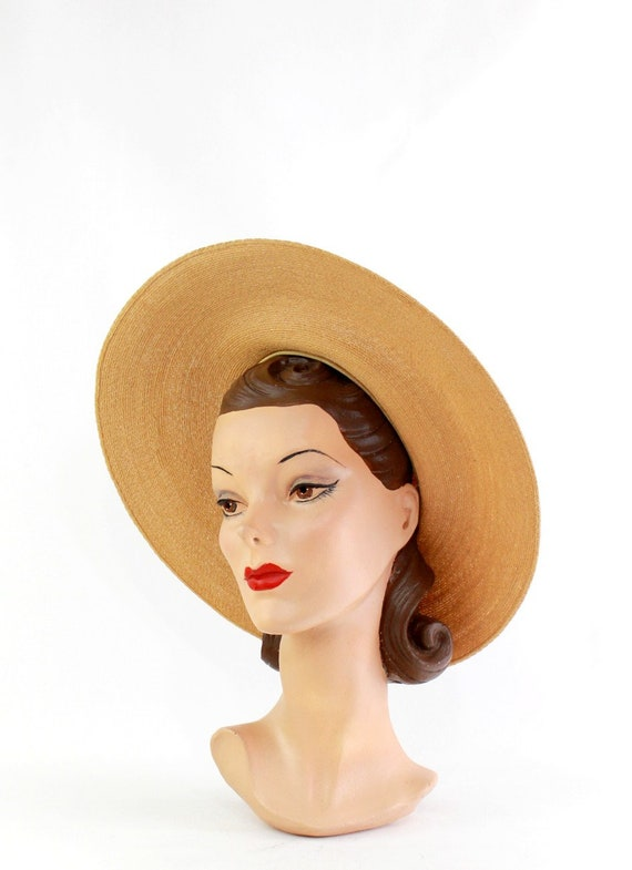 1940s Natural Straw Platter Sun Hat - 1940s Straw… - image 9