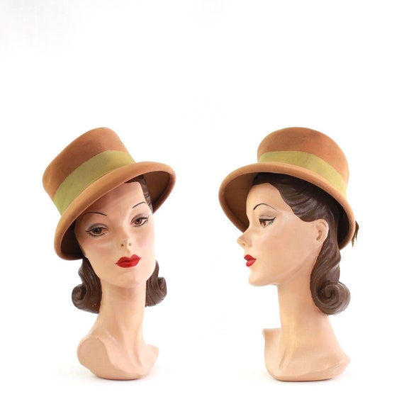 1940s Pale Orange Suiter Tilt Top Hat - 1940s Suit