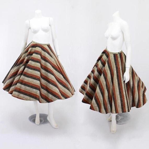 1950s Stripe Skirt - 50s Full Circle Skirt - 1950s