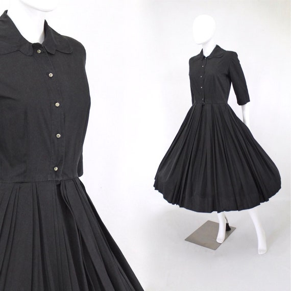 1950s Black Shirtwaist Fit & Flare Dress - 1950s B