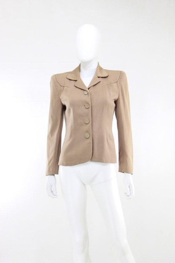 1940s Taupe Gabardine Jacket - 1940s Gabardine Ja… - image 3
