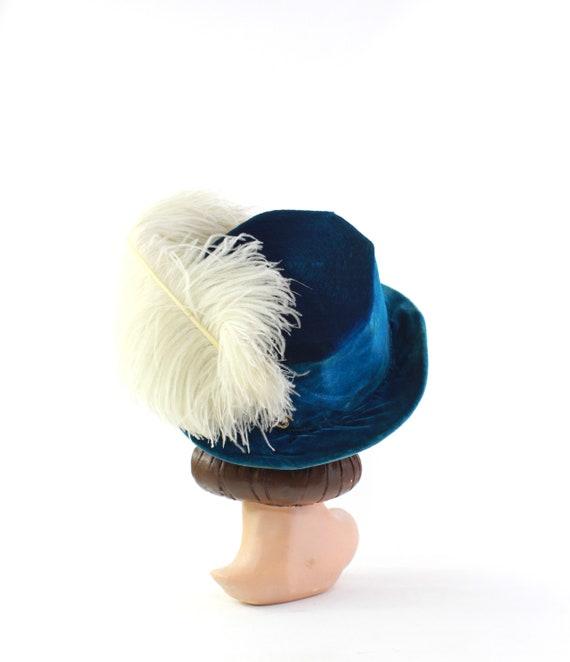 Edwardian Cerulean Blue Hat - Edwardian Velvet Ha… - image 9