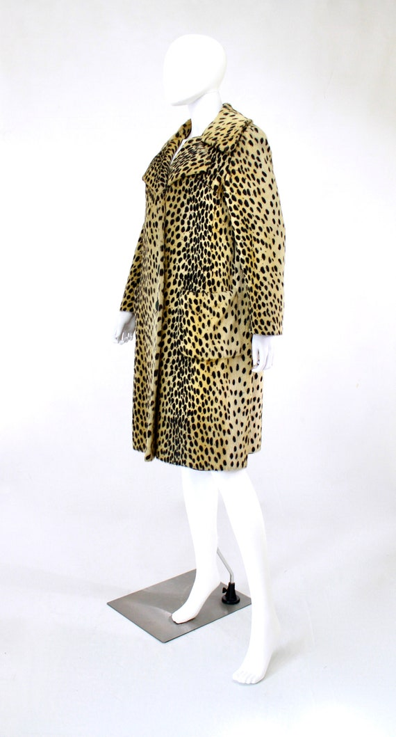 1960s Leopard Print Faux Fur Coat - Vintage Leopa… - image 6