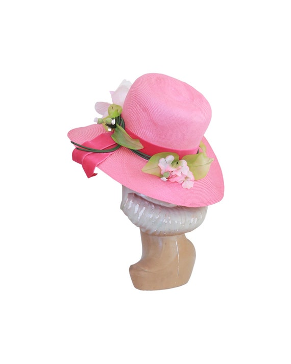 1960s Pink Straw Sun Hat - Vintage Pink Sun Hat -… - image 7