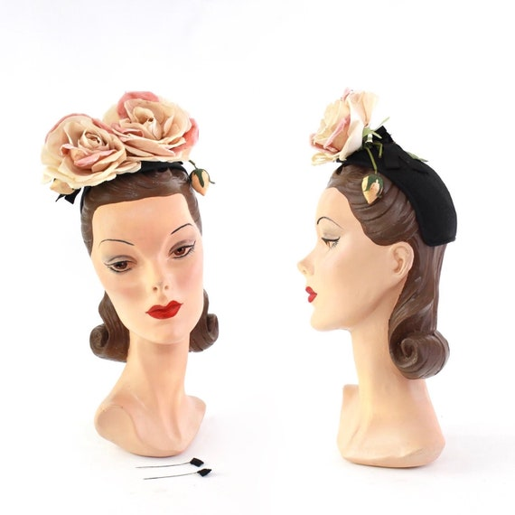 1940s Large Rose Cocktail Hat - 1940s Large Flower