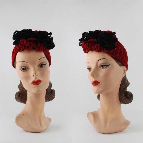 1940s Knit Hat - 1940s Womens Hat - 1940s Turban H