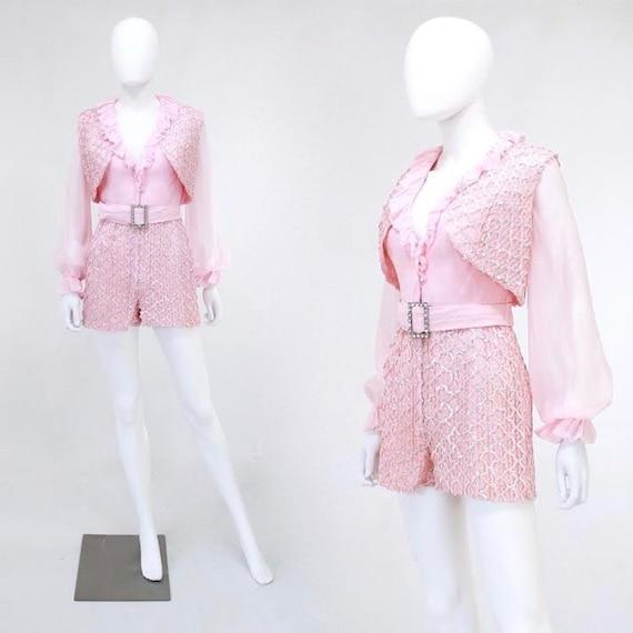 Vintage Pink Hot Pants Jumpsuit - Vintage Sequin R