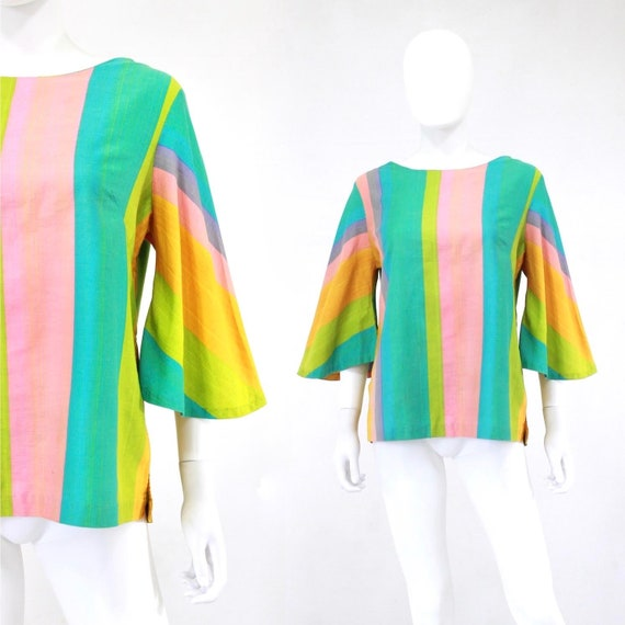 1960s Rainbow Tunic Blouse - 1960s Angel Sleeves B