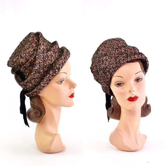 1960s Coral and Navy Toque Hat - 1960s Turban Toqu