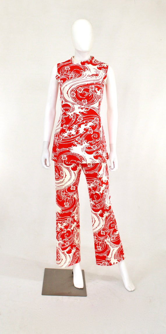 1960s Wave Novelty Print Pant Suit - 1960s Honeym… - image 2