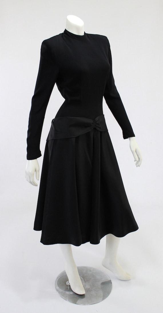 1940s LBD - 1940s Cocktail Dress - 1940s Black Dr… - image 6