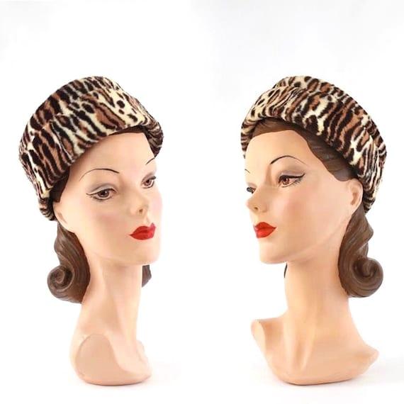1950s Leopard Print Hat - 50s Leopard Hat - 1950s