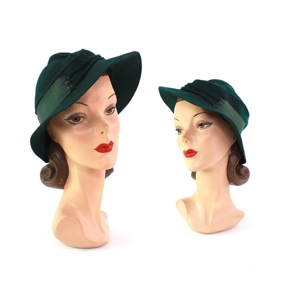 RESERVED | 1930s Womens Hunter Green Fedora - 1930