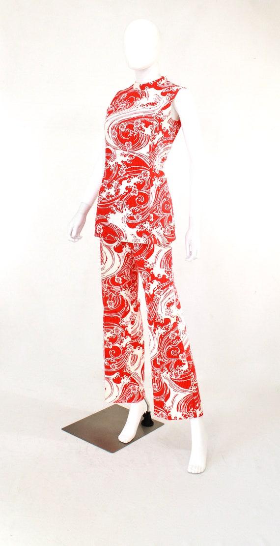 1960s Wave Novelty Print Pant Suit - 1960s Honeym… - image 4