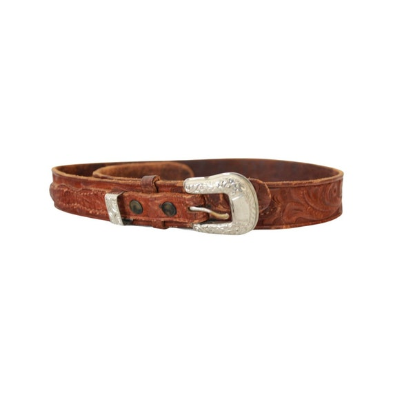 1940s/50s Tooled Leather Belt - 1950s Leather Bel… - image 3