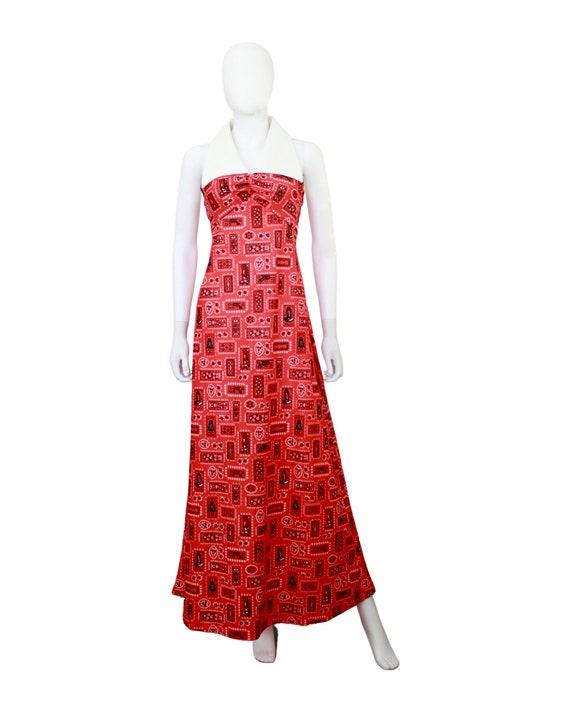 1970s Western Novelty Print Maxi Dress - 1970s Co… - image 2