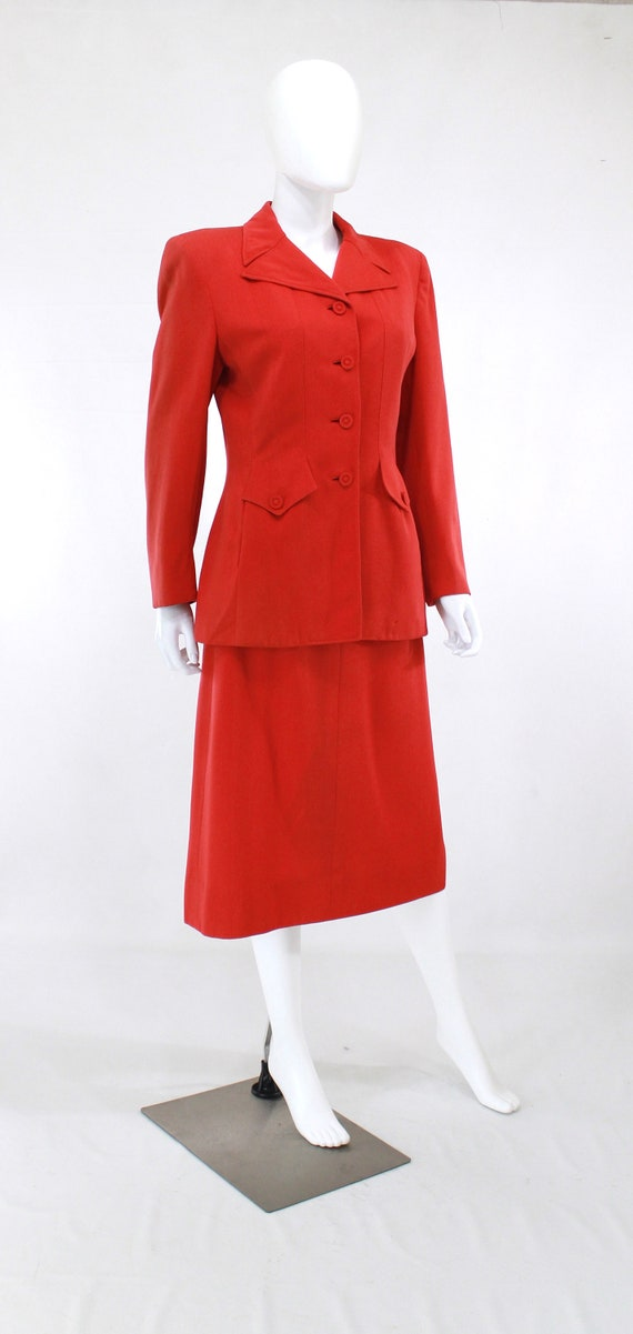 1940s True Red Wool Gab Suit - 1940s Red Suit - 1… - image 3