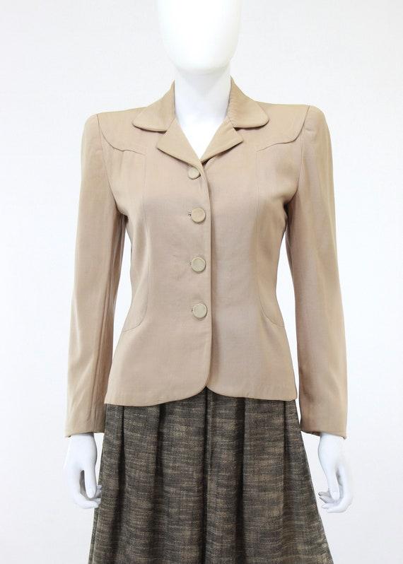 1940s Taupe Gabardine Jacket - 1940s Gabardine Ja… - image 2