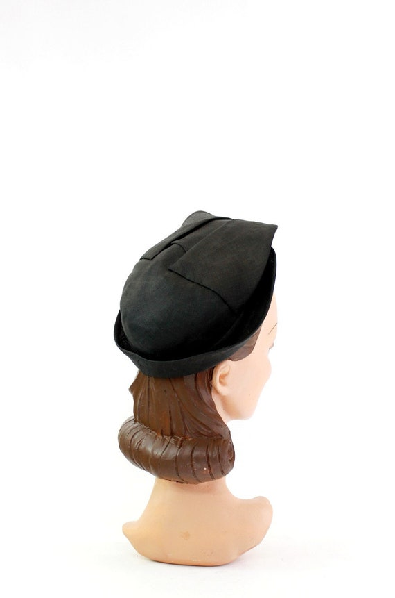 1930s Black Straw Shell Cap - 1930s Halo Hat - 19… - image 8
