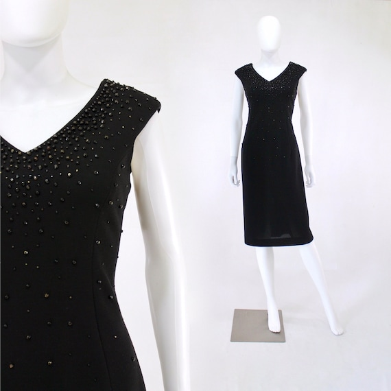 1950s Black Wiggle Dress - 1950s Studded Dress - 1