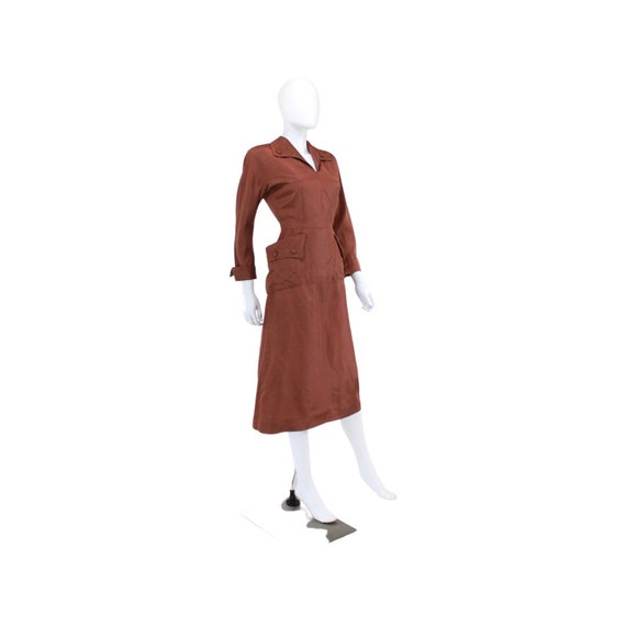 1940s Chestnut Brown Day Dress - 1940s Brown Dres… - image 4