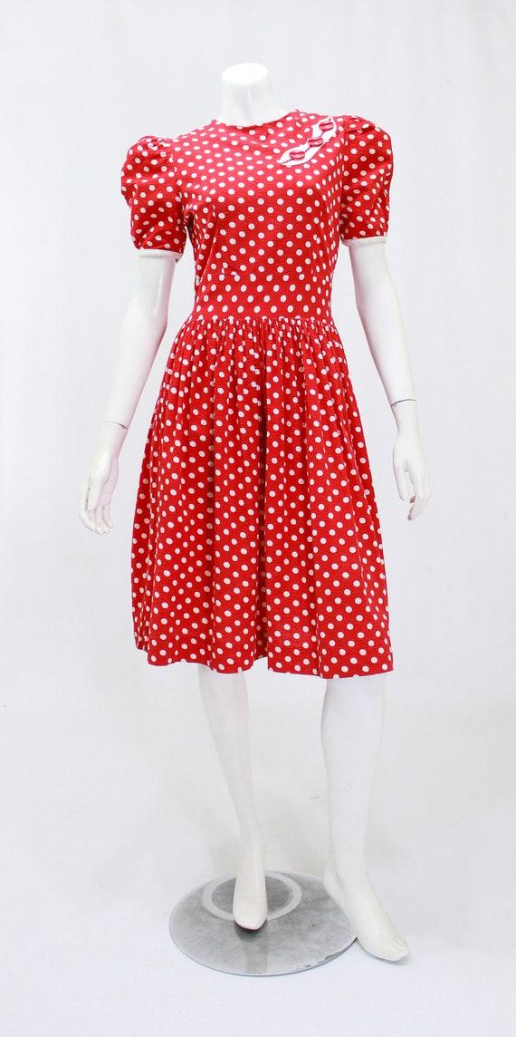 1930s Polka Dot Dress - 1930s Puff Sleeve Dress -… - image 2