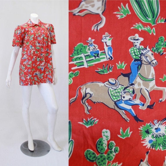 1950s Novelty Print Blouse - Cowboy Novelty Print