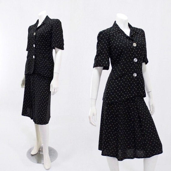 1940s Summer Suit - 1940s Womens Suit - 1940s Navy