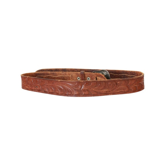1940s/50s Tooled Leather Belt - 1950s Leather Bel… - image 7