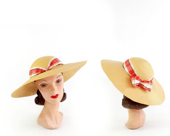 1940s Natural Straw - 1940s Cartwheel Sun Hat - 1… - image 9