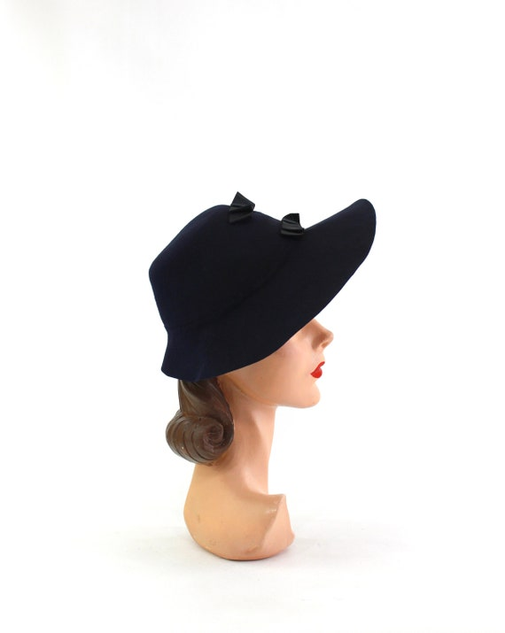 1940s Navy Blue Bonnet Fedora - 1940s Navy Blue F… - image 4
