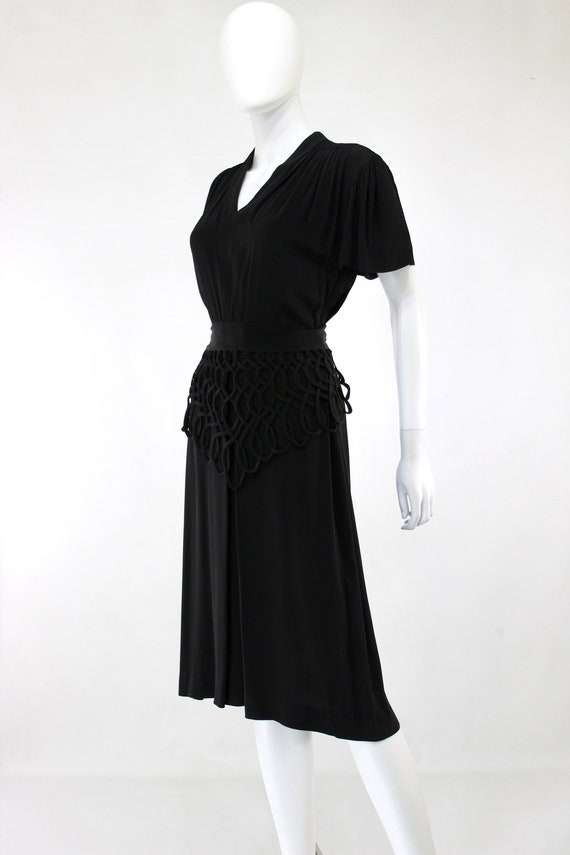 1940s Black Lattice Peplum Cocktail Dress - 1940s… - image 5