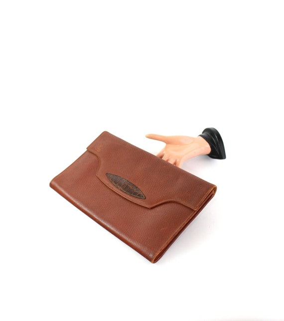 1940s Large Leather Envelope Clutch - 1940s Leathe