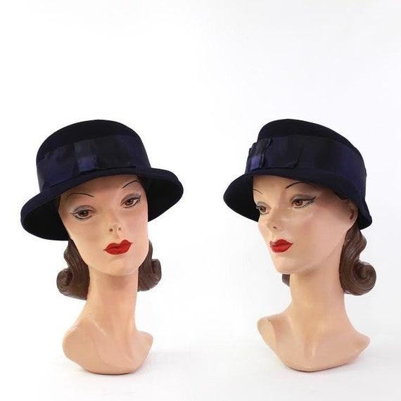 1930s Navy Blue Cloche Hat - 1930s Womens Hat - 19