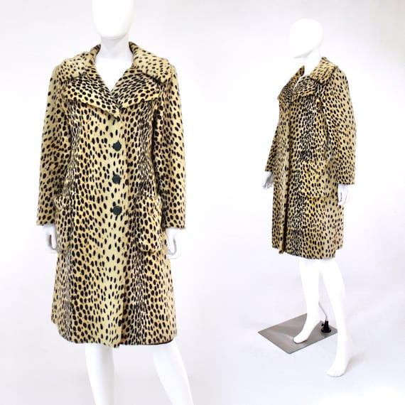 1960s Leopard Print Faux Fur Coat - Vintage Leopar