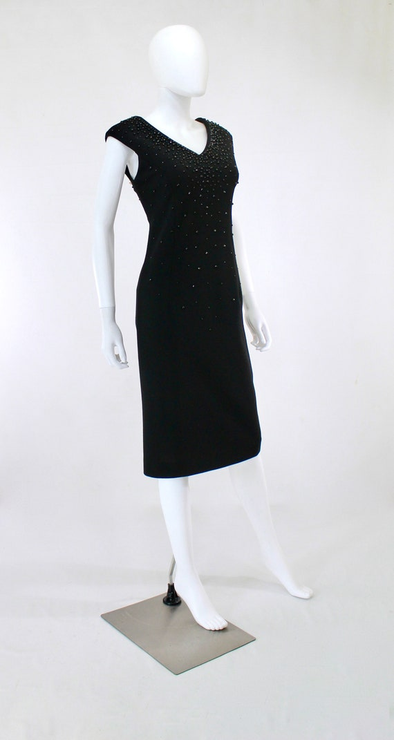 1950s Black Wiggle Dress - 1950s Studded Dress - … - image 5
