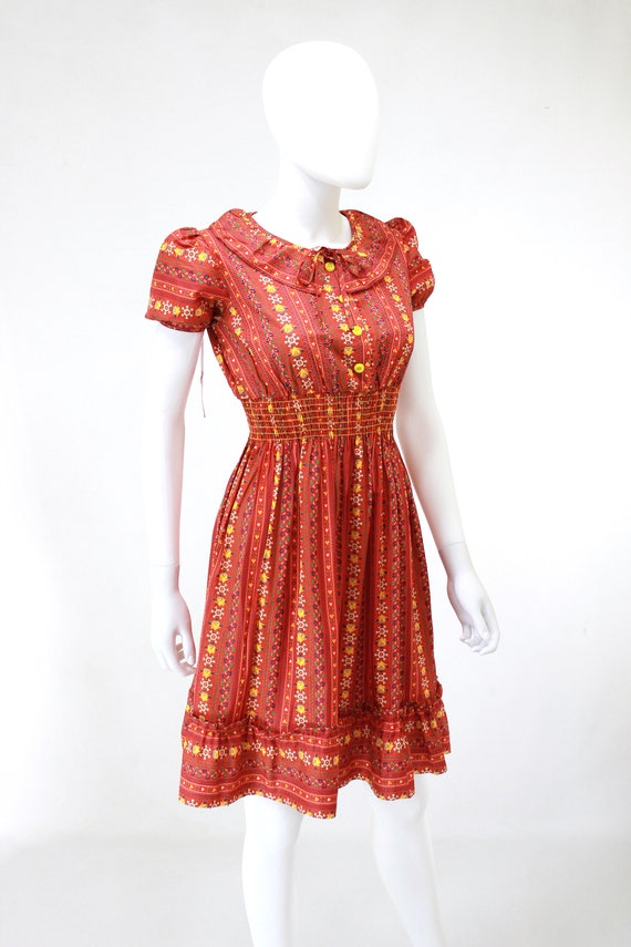 DEADSTOCK 1940s Puff Sleeve Dress - 40s Cotton Dr… - image 8