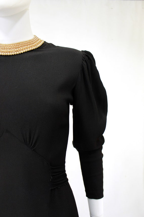 Late 1930s Black Crepe Dress with Pearl Collar - … - image 4