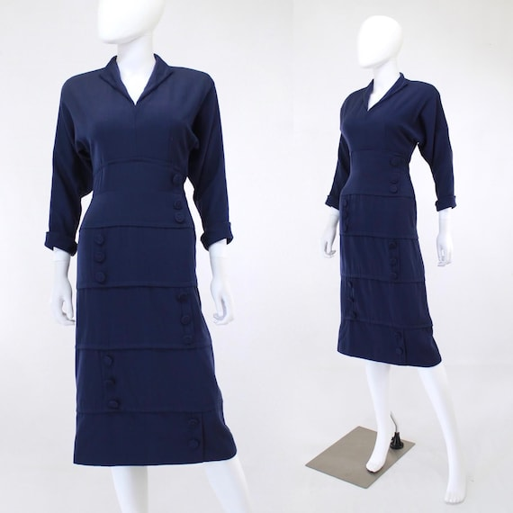 Early 1950s Navy Blue Gabardine Dress - Late 1940s