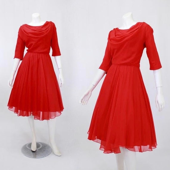 1950s Party Dress - 50s Red Party Dress - 1950s Ch