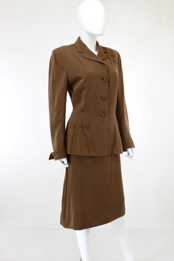 RESERVED | 1940s Womens Brown Suit - 1940s Brown … - image 5