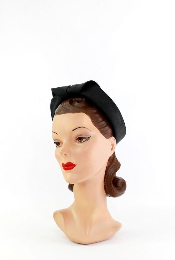 1930s Black Straw Shell Cap - 1930s Halo Hat - 19… - image 3