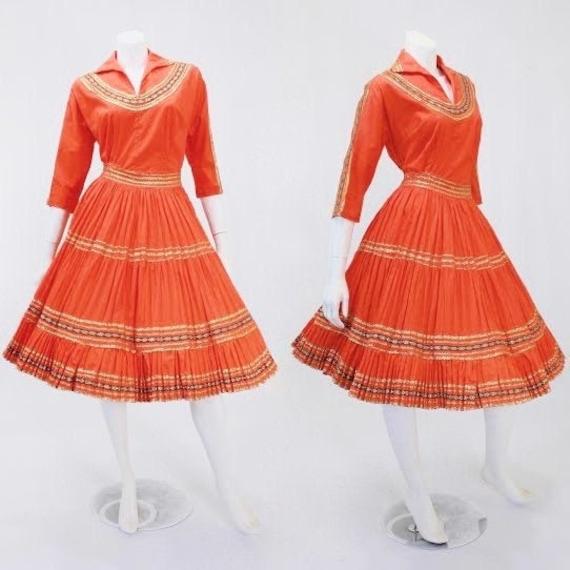 1950s Patio Skirt Set - Orange Patio Skirt Set - 5