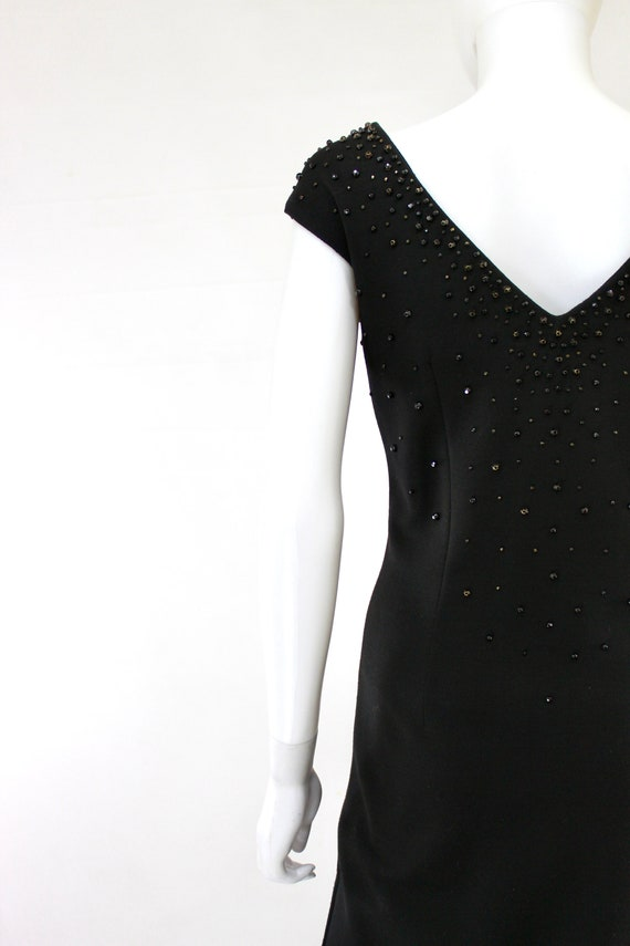 1950s Black Wiggle Dress - 1950s Studded Dress - … - image 9