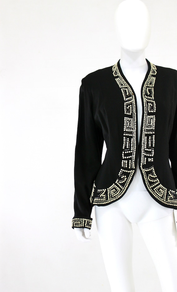 1940s Studded Jacket - 1940s Black Studded Jacket… - image 4
