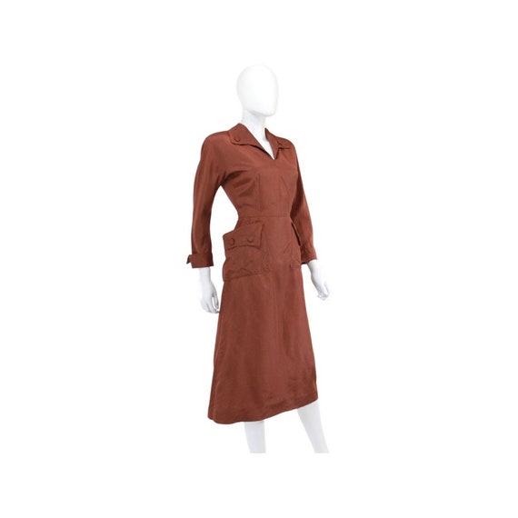 1940s Chestnut Brown Day Dress - 1940s Brown Dres… - image 5