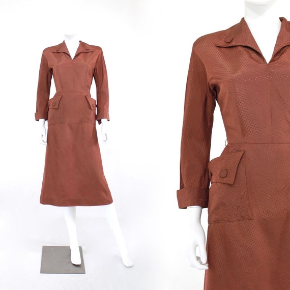 1940s Chestnut Brown Day Dress - 1940s Brown Dress