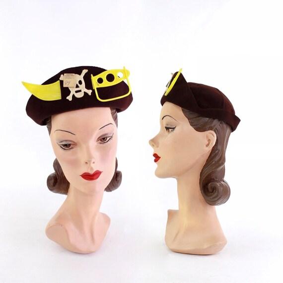 DEADSTOCK 1940s Pirate Costume Hat - 1940s Pirate